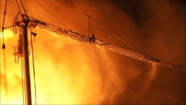RAW: Six-Alarm Fire Rips Through Five-Story Apartment Building Under Construction in Emeryville