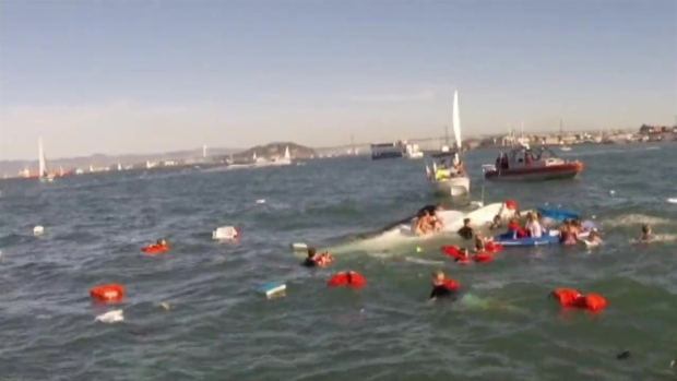 RAW VIDEO: Safety Crews, Bystanders Rescue 30 Passengers After Boat Capsizes