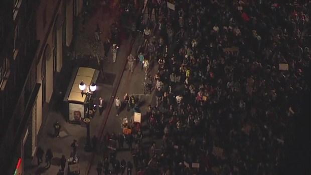 RAW VIDEO: Anti-Trump Protesters March in Oakland