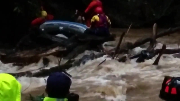 RAW: Rescue Crews Save Rafter From Rushing Waters in Boulder Creek