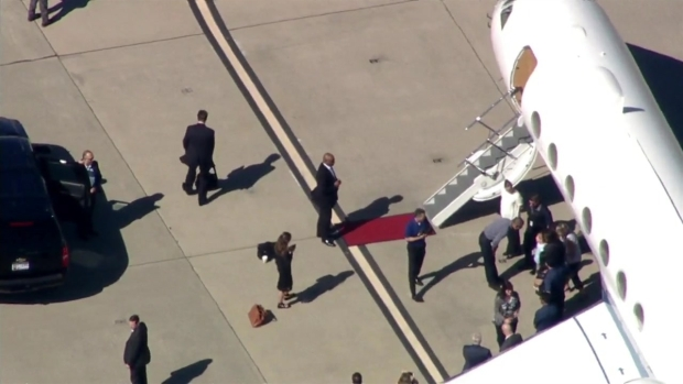 RAW: Obama Greets Guests at Moffett Field Tarmac Before Leaving Bay Area