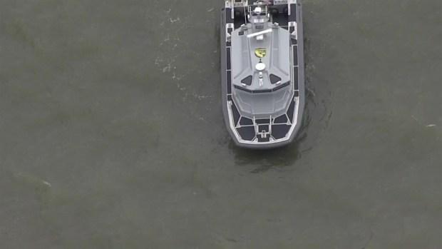 [BAY] RAW VIDEO: Coast Guard Responding to Sunken Barge Near Bay Bridge