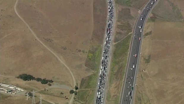 RAW: Traffic Backed Up for Miles on I-580 After Fatal Crash
