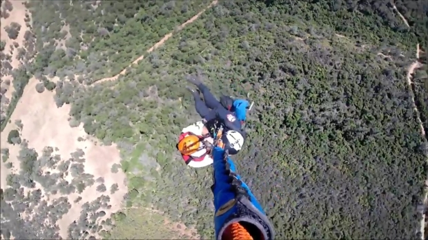 RAW: Sheriff's Helicopter Rescues Injured Mountain Biker