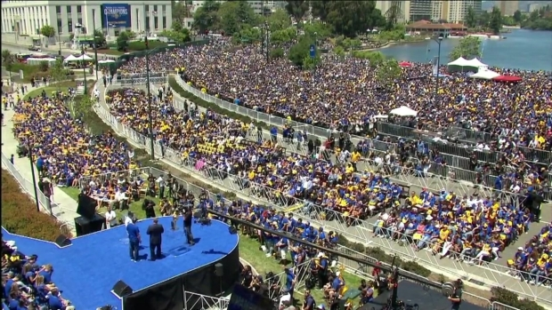 WATCH: Warriors Owners Address Dub Nation at Championship Parade