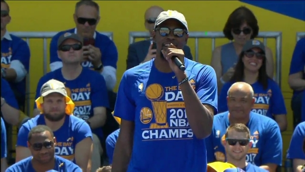 RAW VIDEO: Kevin Durant at Warriors Championship Rally