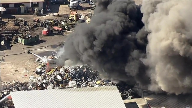 [BAY] RAW: Firefighters Battle Two-Alarm Blaze at Recycling Yard