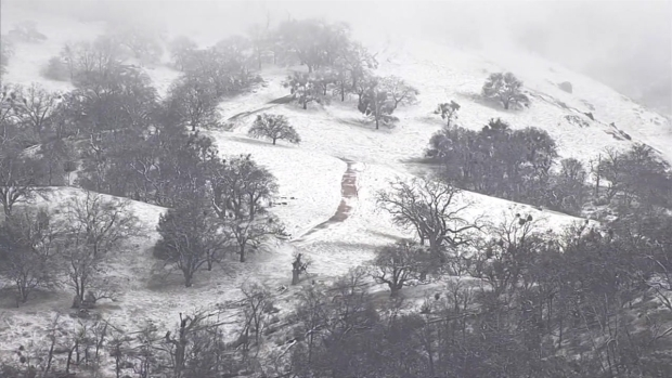RAW: Snow Dusts Mount Hamilton in the South Bay