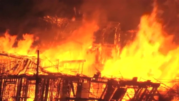RAW: Flames Devour Under-Construction Building in Concord