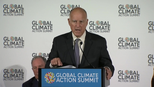 [BAY] RAW: Brown Responds to Protesters Outside Climate Summit