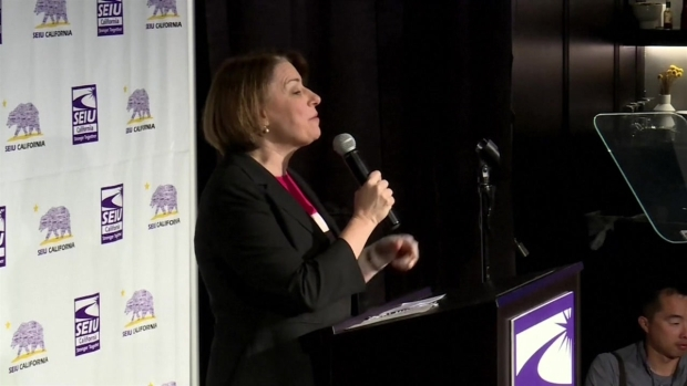 Amy Klobuchar Speaks at SEIU Breakfast Forum in San Francisco