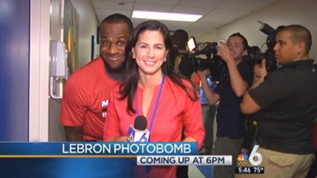 [MI] LeBron James Photobombs NBC 6's Laura Rodriguez