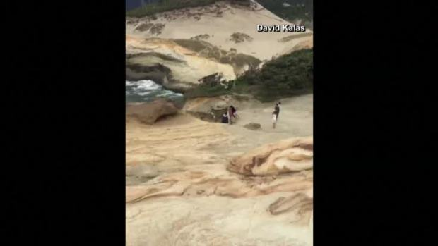 Cellphone Video Shows Group Knocking Over 'Duckbill' Rock