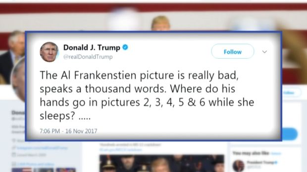 [NATL] Trump Enters Harassment Fray With Comments on Franken, But Not Moore