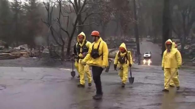 [BAY] Search Continues for Survivors as Rain Helps With Wildfire
