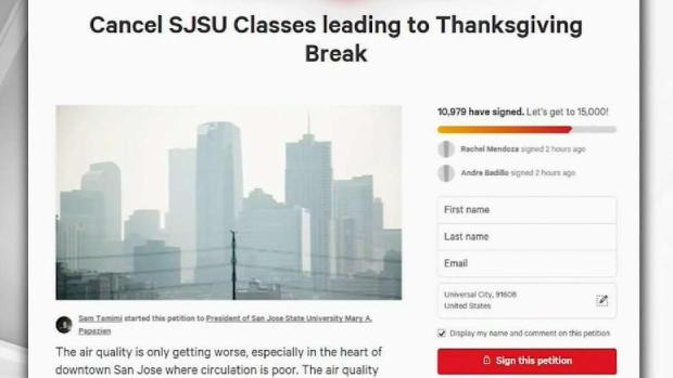 [BAY] Thousands Sign Petition to Cancel SJSU Classes Amid Bad air