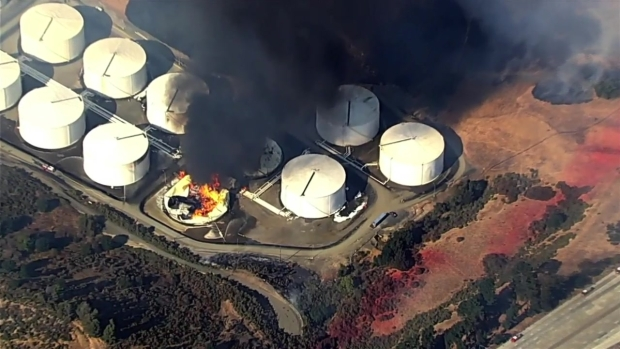 RAW: Aerial Footage of Fire at East Bay Energy Facility