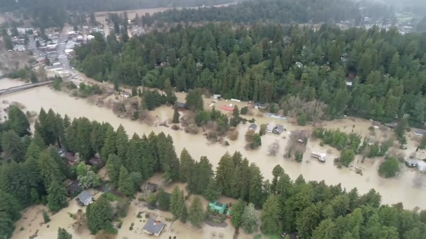 Drone Video Shows Homes Under Water in Guerneville