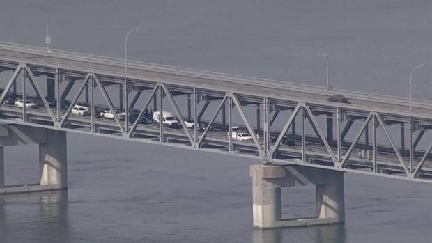RAW: Richmond-San Rafael Bridge Shuts Down After Concrete Falls From Upperdeck