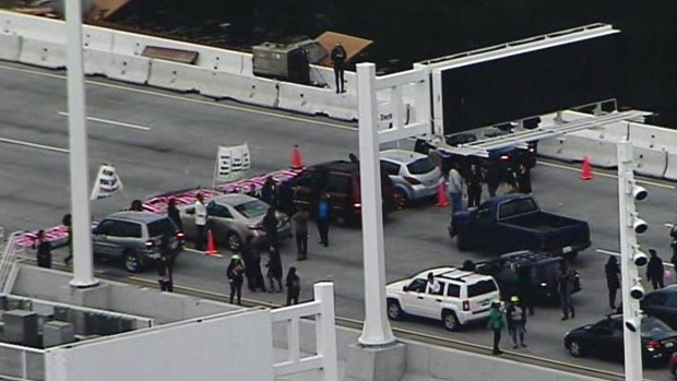 Aerial Video: MLK Day Protesters Block Bay Bridge