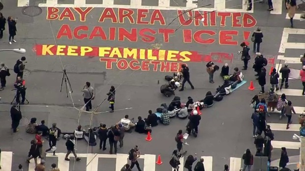 Protestors Denounce Immigration Raids Outside SF ICE Office