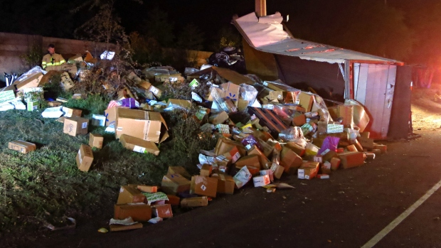 [BAY] Driver Killed When Postal Truck Flips on Danville Highway Spilling Packages