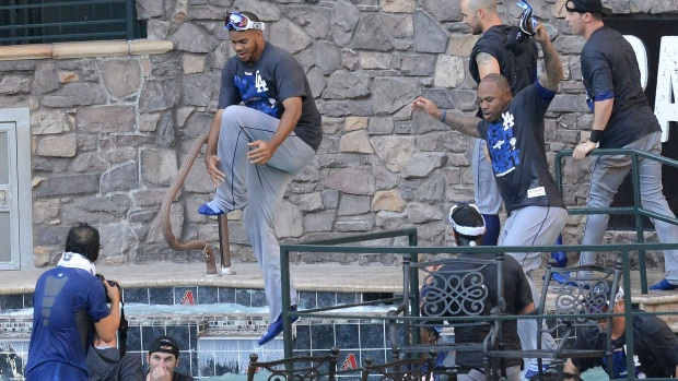 Dodgers Party in D-Backs' Pool