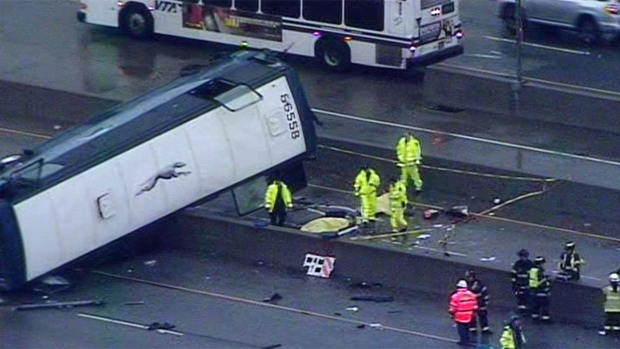 [BAY] RAW: Greyhound Bus Flips on Side, Two Killed