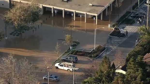RAW: Water Main Break Triggers Flooding in San Mateo
