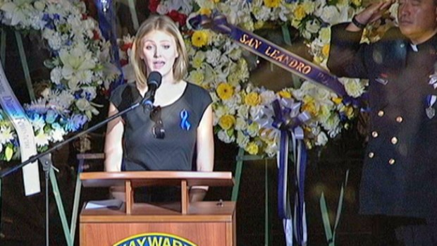 "[BAY] Memorial for Hayward Police Sgt. Scott Lunger: Officer's Sister Sings ""The Star-Spangled Banner"""