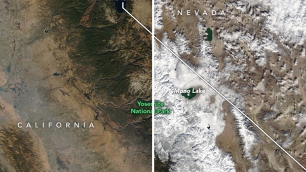 [BAY BW]Before and After: Fresh Snow Transforms Sierra Nevada Landscape