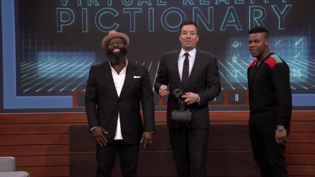 [NATL] 'Tonight': Virtual Reality Pictionary With John Boyega and Bella Thorne