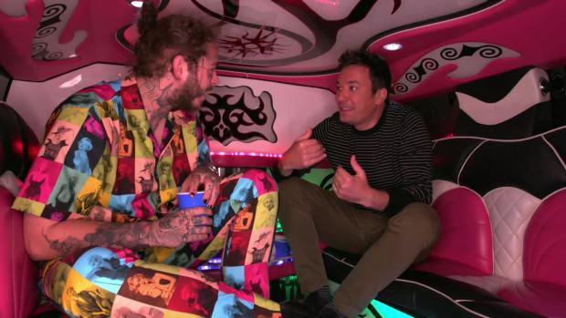 [NATL] 'Tonight': Post Malone Takes Jimmy Fallon to Olive Garden