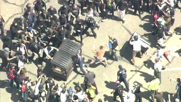 RAW: Protesters Tussle Over Trash Bin in Berkeley