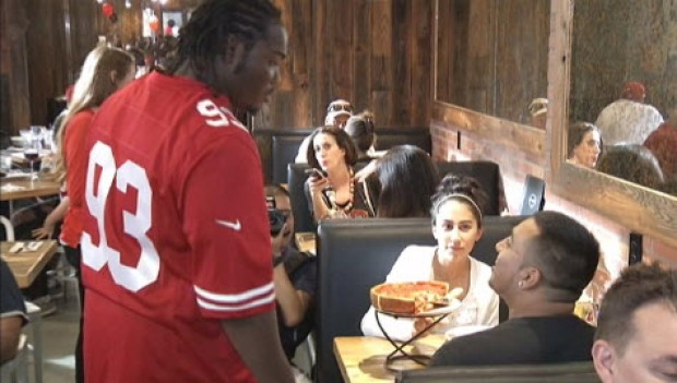 "49ers Players ""Serve"" Patxi's Pizza Customers"