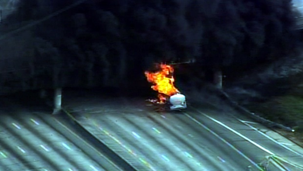 Images of 60 Freeway Tanker Fire