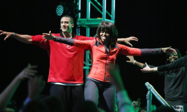 Colin Kaepernick Works Out With First Lady