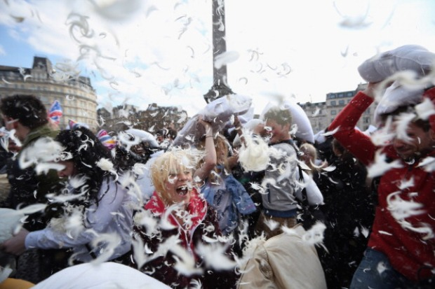London Hosts Public Pillow Fight