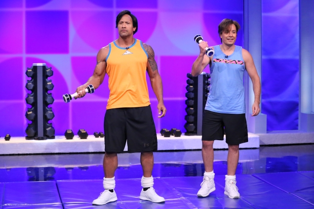 "[NATL] Dwayne ""The Rock"" Johnson, Jimmy Fallon Reveal Workout Videos (Part 2)"
