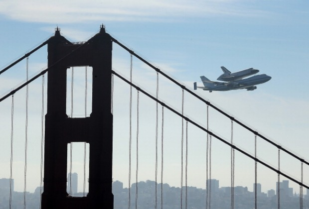 Space Shuttle Endeavour Flies Over San Francisco