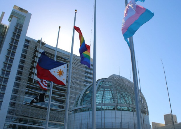 San Jose Pays Tribute to Orlando with Rainbow Flags at Half Staff