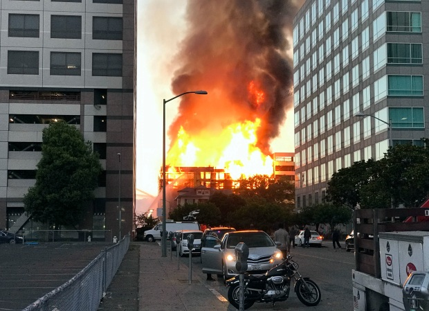 Four-Alarm Fire Engulfs Building Under Construction in Oakland