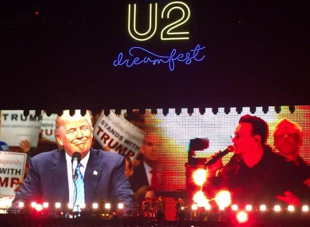 [BAY] Bono Breaks Down Trump's Wall at U2 Concert