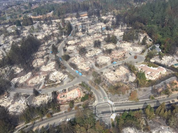 Aerial Views from National Guard Helicopter Show North Bay Wildfire's Aftermath