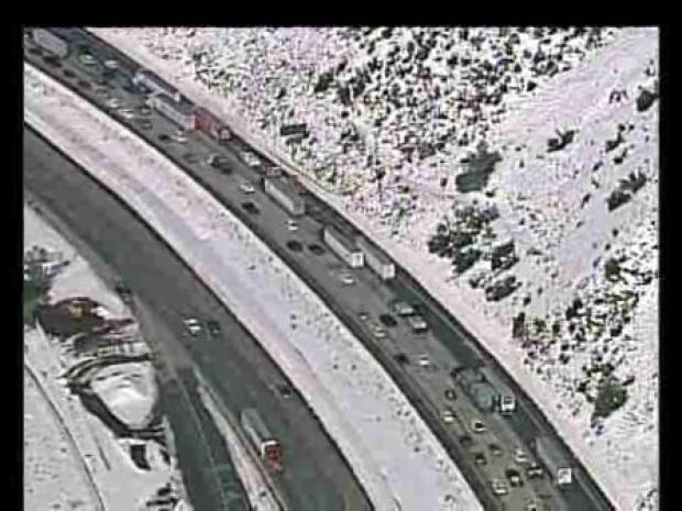 [LA] Traffic Crawls Amid SoCal Snow (RAW)