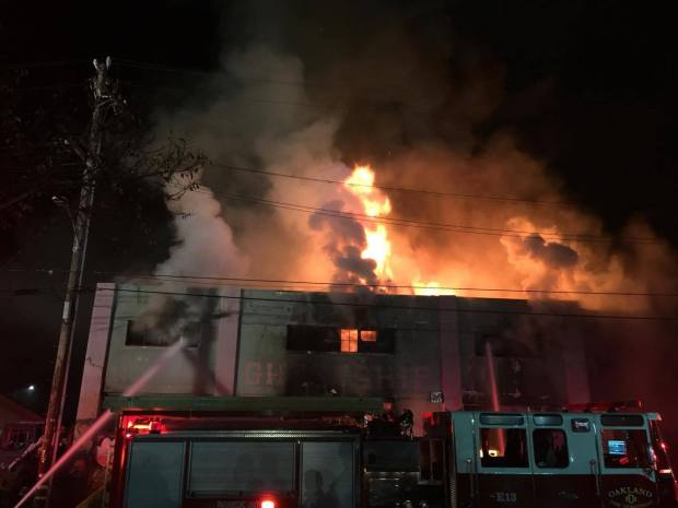 Photos: Oakland Warehouse Building Engulfed in Flames