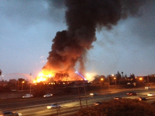 [BAY] RAW VIDEO: 5-Alarm SJ Warehouse Fire Causes Explosions, Roof Collapse