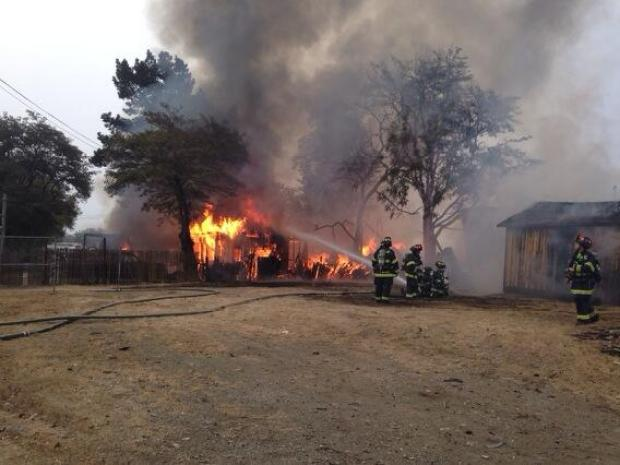 [BAY] RAW VIDEO: Crews Battle Fire at Lumber Yard Near Morgan Hill