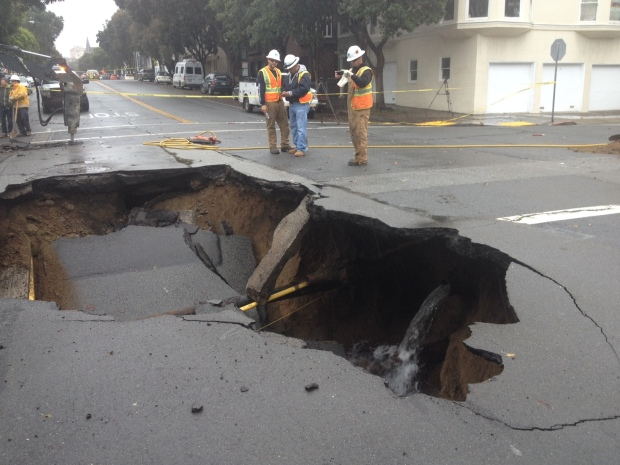 Photos: Sinkhole Opens Up in San Francisco