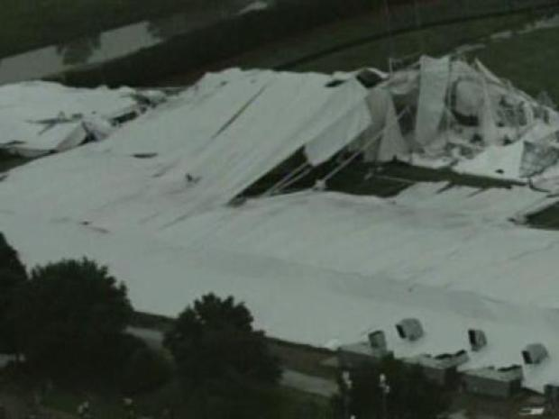 [DFW] RAW VIDEO: Aerial Views of Collapsed Cowboys' Practice Facility